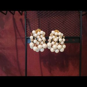 Dressy, Dainty pearl and gold cluster earrings.